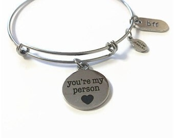 You're My Person Expandable Bracelet Best Friend Stacking Bracelet You're My Person Charm Bangle You're My Person Adjustable Bangle Bracelet