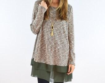 Chiffon Layered Knit Tunic