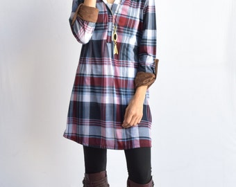 Suede Tap Sleeve Plaid Tunic