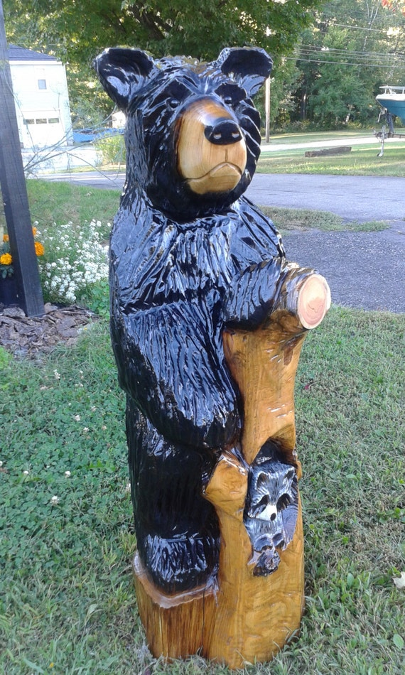 Black bear raccoon wood carving chainsaw rustic