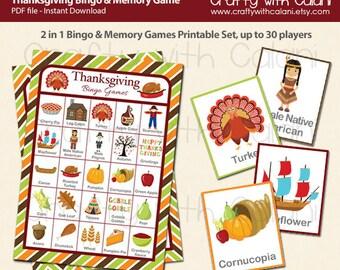 Thanksgiving Bingo & Memory Game, Printable Thanksgiving Bingo Game, 2 in 1 Thanksgiving Bingo and Memory Game, Thanksgiving Party Printable