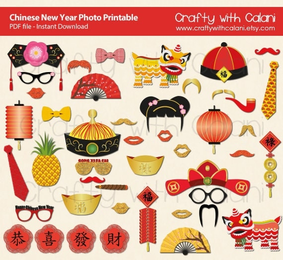 chinese new year photo booth prop chinese new year party printable lunar new year photo props printable - Chinese New Year Party