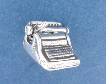TYPEWRITER Charm, Typist, Secretary, Movable .925 Sterling Silver Charm