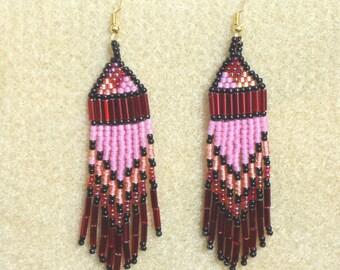 Seed bead earrings, fringe earrings, Native American style, beaded earrings, hand made jewelry, beaded jewelry, southwestern, western, boho