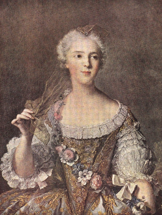 1939 print of Madame Sophie by Jean-Marc Nattier (1685 - 1766), French, published in World Famous Paintings, semi gloss print