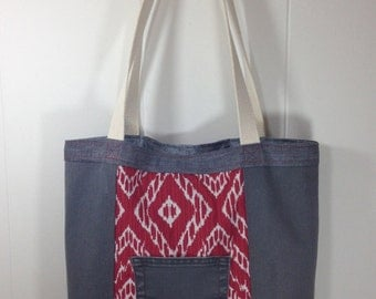 Tote Bag from Upcycled Denim  & Upholstery Fabric - Red