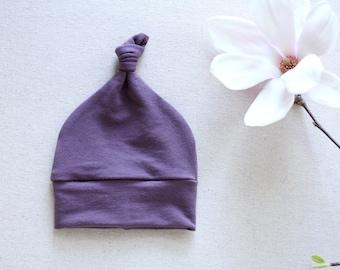 SALE! Purple Bamboo Knot Beanie / Purple Baby Beanie / Newborn Hat