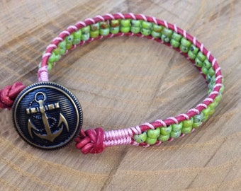 Pink & Green Anchor Ladder Bracelet