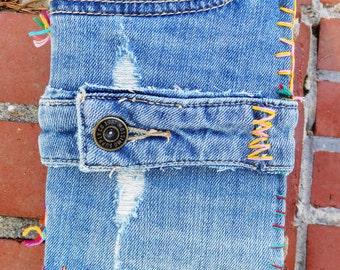 Rainbow Paper Journal with Denim Cover