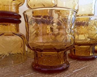 12 Libbey Country Garden Amber Short Glasses; Libbey Daisy Amber Tumblers