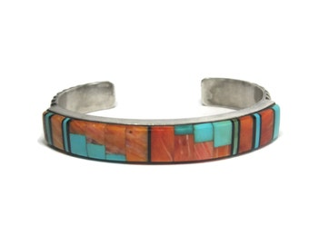 Vintage Navajo Inlay Cuff Bracelet Sleeping Beauty Turquoise Spiny Oyster Antonio Yazzie