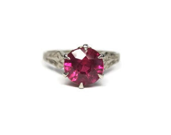 Vintage 14K Ruby Engagement Ring White Gold Solitaire 1.5 Carat Size 6