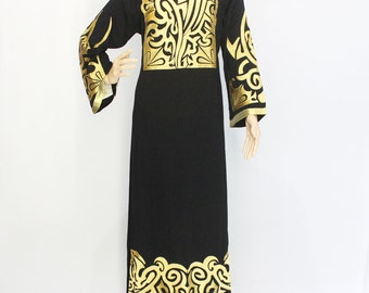 Gold Embroidery Ethnic Dress, Modest Black Abaya Gown Dress, Moroccan Dubai Abaya Long Sleeve Dress, Made of Good Fabric Detailed Finishing
