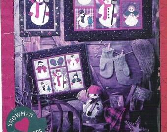"""SNOWMAN SAMPLERS, Large Snowman Buttonhole Embroidery 27""""X23"""", Miniature Snowman Penstitch Applique 20""""X17"""" Single Snowman WallHanging 12X16"""