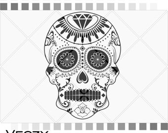 Sugar skull svg, candy skull, day of death, files for cricut, Skull svg, Files for Silhouette Cameo or Cricut, EPS, DFX, SVG,  SV00081