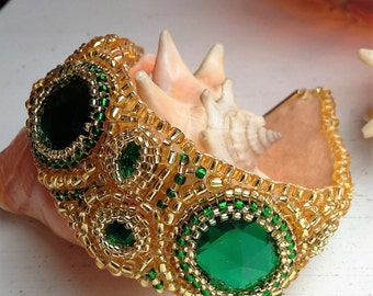 Green and Gold Cuff Bracelet