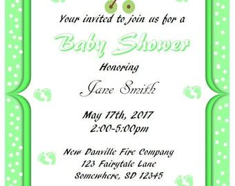 Printable Green w/Polka Dots Baby Shower Invitations