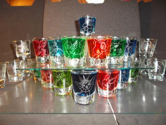 Pick-a-poke! Any pokemon etched shot glass (One shot glass)