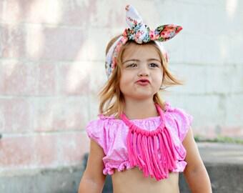 Hot pink Boho Tomato Fringe Necklace / boho fringe necklace / toddler necklace /tassle necklace/ little girls fringe necklace