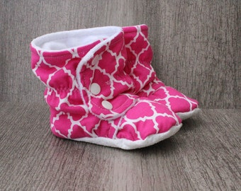 18 months toddler booties, quaterfoil, pink, white, minky, child, crib boots, soft shoes, booties. soft sole