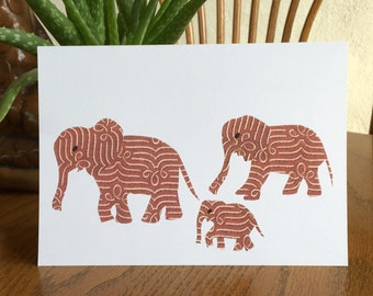 Elephant Family, Greeting Card, cut paper art, whimsical, african art, african animal card, african greeting card children