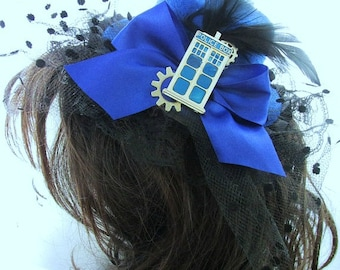 "20% OFF SALE - Steampunk ""Tardis Pilot"" Blue Police Box Mini Top Hat Fascinator"
