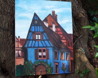 Original Acrylic Painintg of Blue House in German Village, 16 x 20, Self Taught American Artist,  Art Collectible, Home Decor, Unique Gift