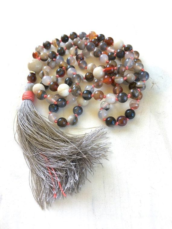 Autumn Mala Beads, Emotional Healing Mala Necklace, Botswana Agate Mala Beads, 108 Mala Beaded Necklace, Yoga Practice Beads, Chakra Healing