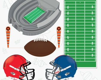 Football digital clip art - football clipart - football helmet clip art - football clip art - sports clip art - instant download