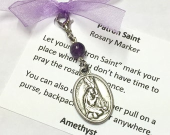 St. Mary Magdalen Rosary Marker/Zipper Pull with Amethyst Gemstone Stone