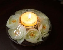 Tea Light; Candle Holde; Clear Glass; Silk flower Accents; Romanitc !!!