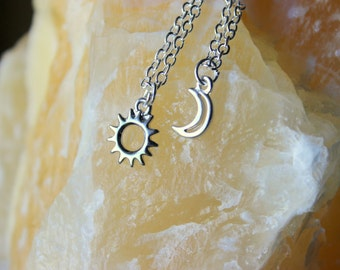 Sun and Moon Necklace, Best Friends Forever, Mismatched Jewelry, Sun and Moon Jewelry, Sun and Moon Charm Celestial Jewelry, Yoga Jewelry