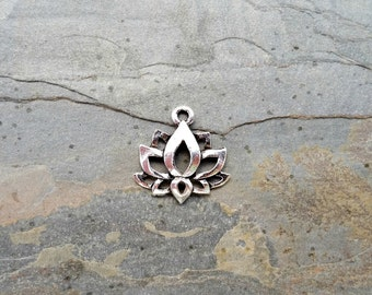 Lotus Charm Antique Silver boho jewelry pendant C129,silver lotus charm,lotus charm,lotus flower charm,boho lotus charm,yoga charms