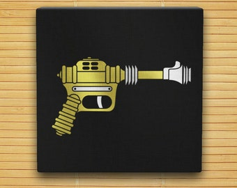"Buck Rogers XZ-38 Disintegrator Raygun - Hand Stenciled Canvas - 12"" x 12"" - Retro Sci Fi Ray Gun"