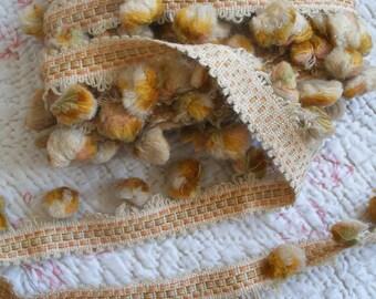 6 yds antique French trim, upholstery braid, pom poms