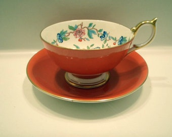 Vintage Aynsley Pembroke Orange and Gold Hummingbird and Blossoms Bone China Tea Cup and Saucer Set
