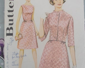 Butterick 2888 is for an early 1960s dress and short jacket pattern. Dress has bateau neckline and A line skirt. 36 inch bust.