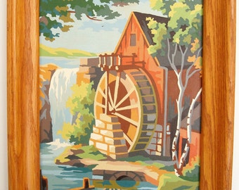 Vintage Paint by Number - Mill Scene