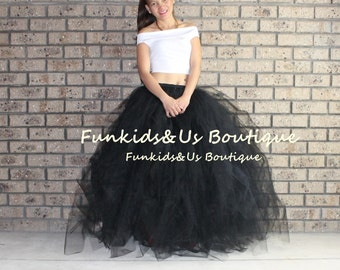 Black  Tulle Skirt Sewn Tutu-  Adult Full Length Tulle Wedding Skirt Tulle - Engagement Photos Bachelorette Tutu