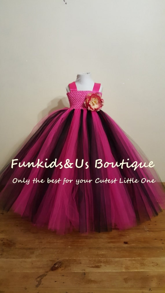 black and hot pink flower girl wedding tutu dress hot pink