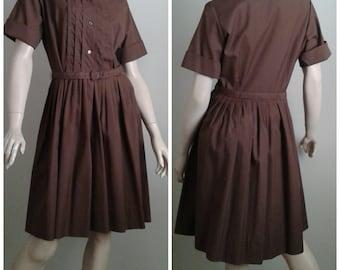"RICH CHOCOLATE BROWN Vintage 50's/60's Cotton Dress/Mad Men 1960's Shirtwaist/1950's Rockabilly/""lady birds"" designer/Size M/L/Everyday"