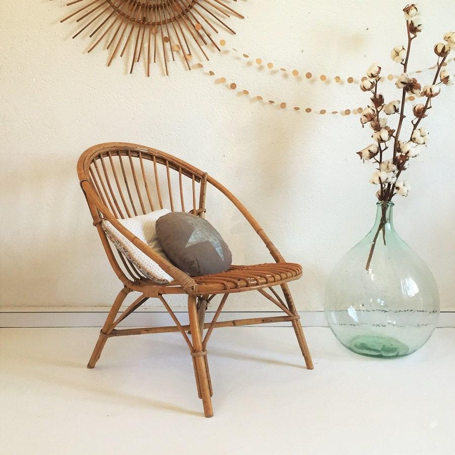 fauteuil rotin vintage ann es 60 si ge rotin par chouettefabrique. Black Bedroom Furniture Sets. Home Design Ideas