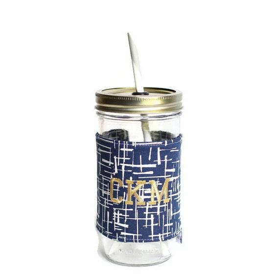 indigo sketch mason jar tumbler monogram mason jar cup gifts