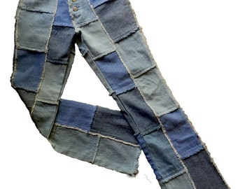 1980s Vintage Patchwork Hip Huggers Low Rise Jeans, Mod Boho Hippie Frayed Denim Jeans Festival Wear