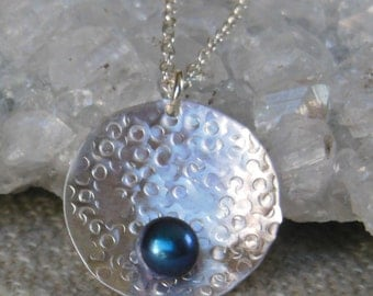 Blue Fresh Water Pearl Round Pendant