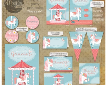 Carousel Pony Vintage Style Printable Party Package