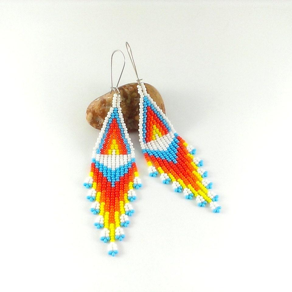 white dangle seed bead earrings beaded earrings american style
