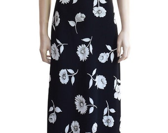 Vintage Dress, Stepping Out Black Floral Dress, Women's Dress, 1990s Dress, Black Dress, Summer Dress, Party Dress, Long Dress, Florals