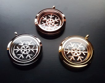 Snowflake Window Plate for Floating Lockets-Silver, Gold or Rose Gold-Fits Large, Round Floating Lockets-Gift Ideas