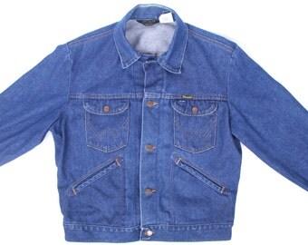 Men's Jeans Jacket / Wrangler Jacket / Vintage Men's Denim Jacket / Wrangler Denim Jeans Jacket / Blue Denim Coat /Men's Large Jacket / Coat